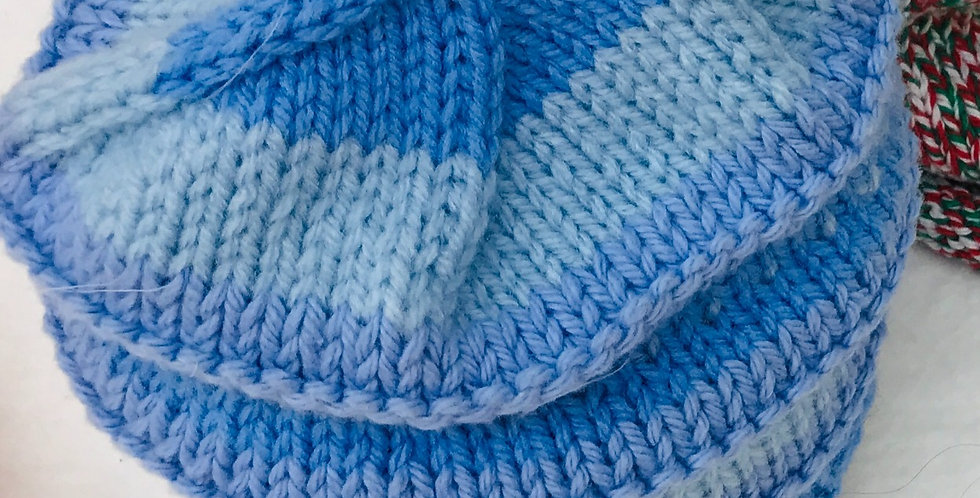 Baby Hat Blues with silver snowflake/cotton yarns