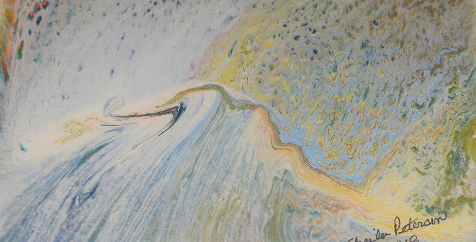 Ski Slope - acrylic pour - 6 x 8 on Canvas