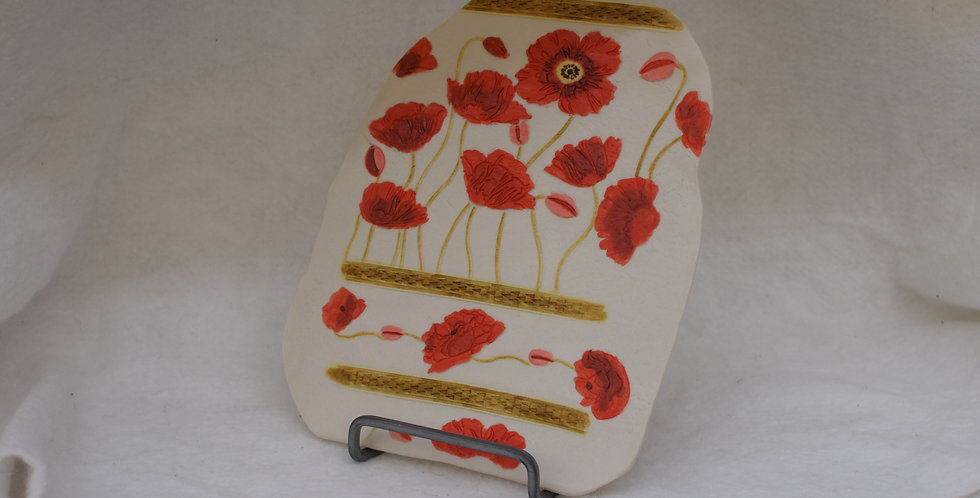 Hand painted Poppy Tile with hanger
