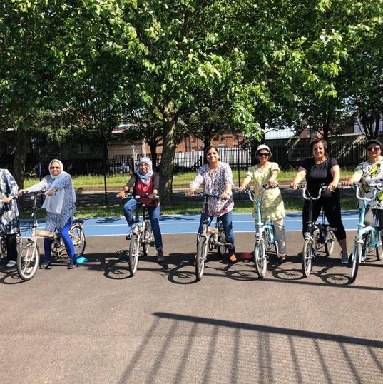 All ready to cycle at MUGA.