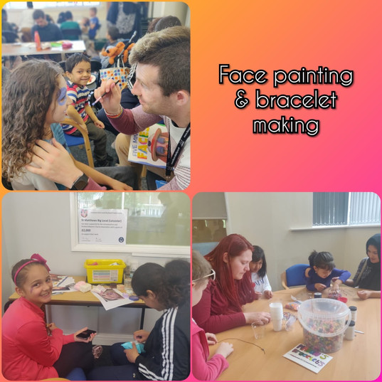 Face painting and bracelet making