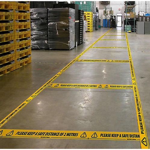PLEASE KEEP A SAFE DISTANCE Self Adhesive Floor Warning Tape