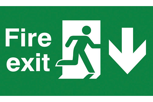 Safety / General - T-Bar Signs - Fire Exit Down / Left Side / Right Side / Up