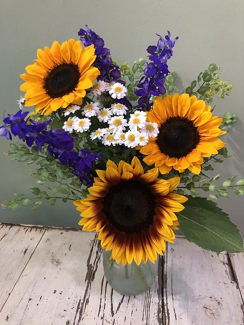 Sunflower with Wildflowers in mason jar