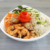 Caramelized Shrimp with egg roll vermice