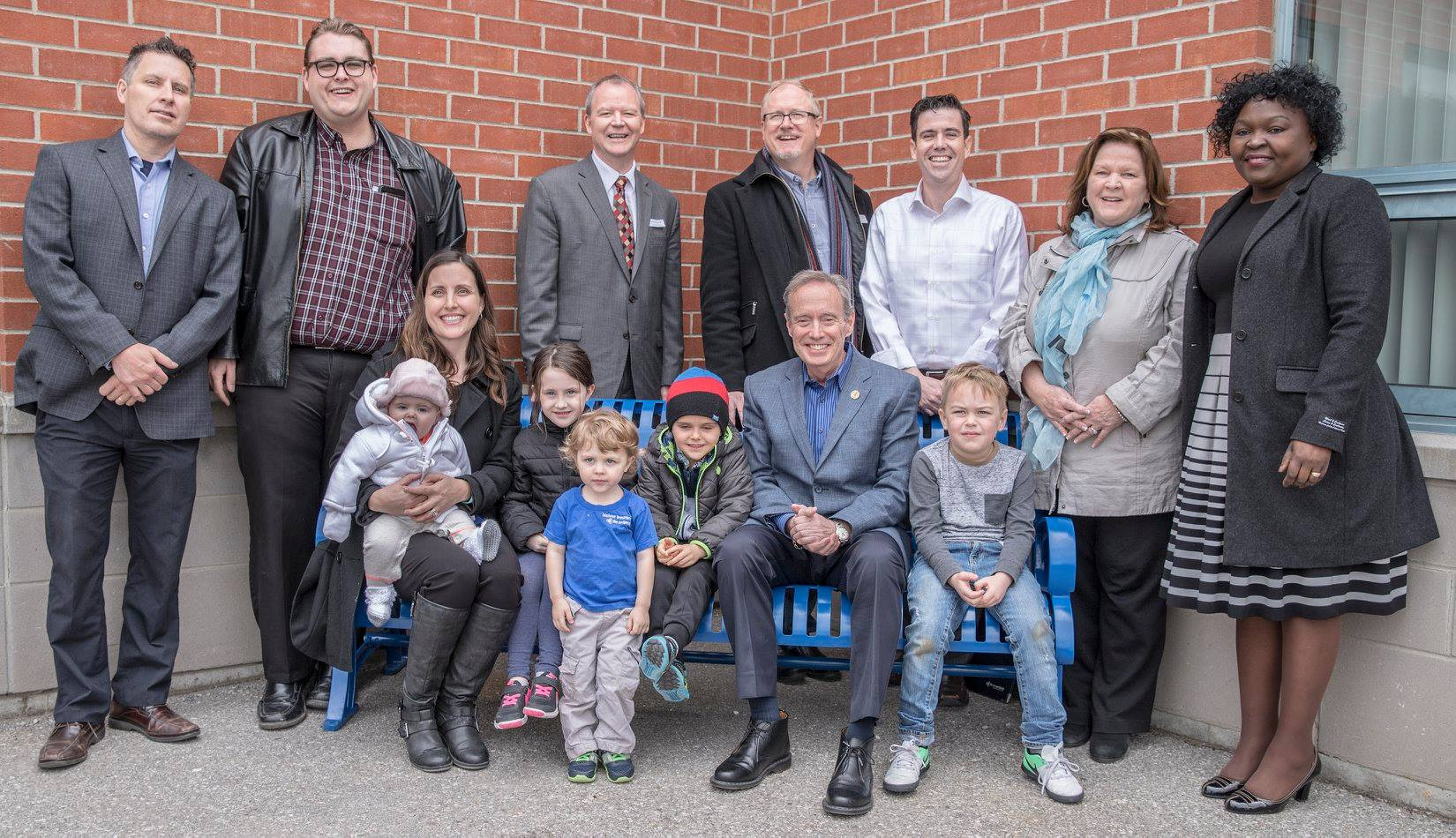 """Eric join dignitaries for the unveiling of Durham's first anti-bullying """"Buddy Bench"""""""