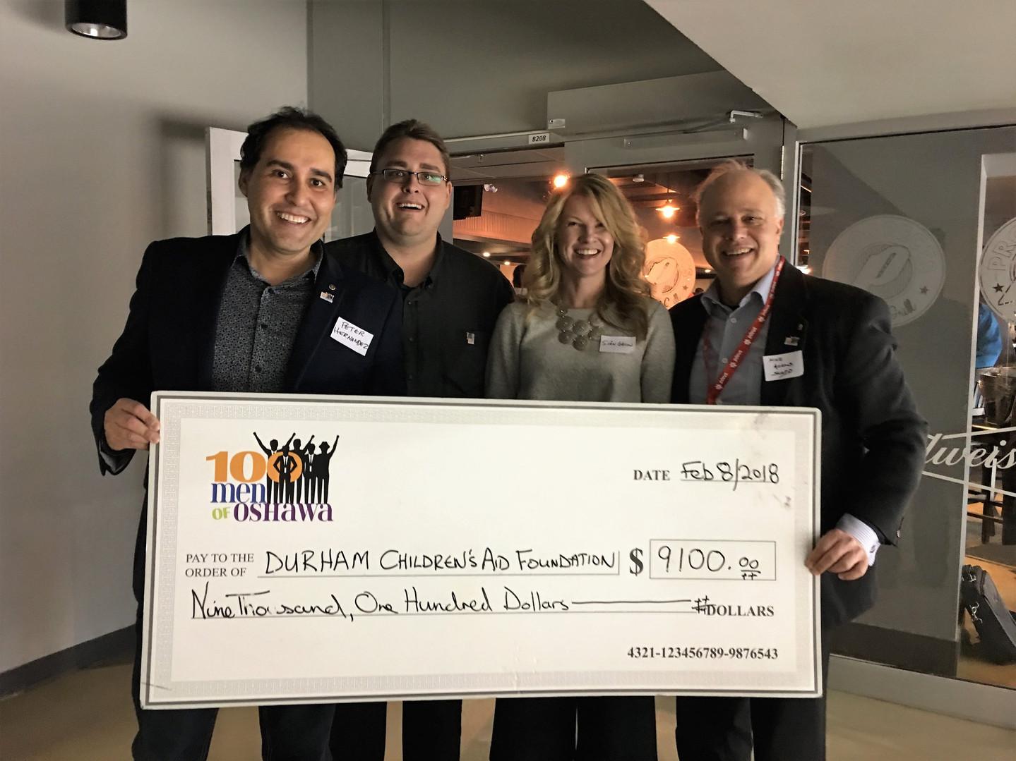 Presenting 100 Men of Oshawa Donation to Durham Children's Aid Foundation
