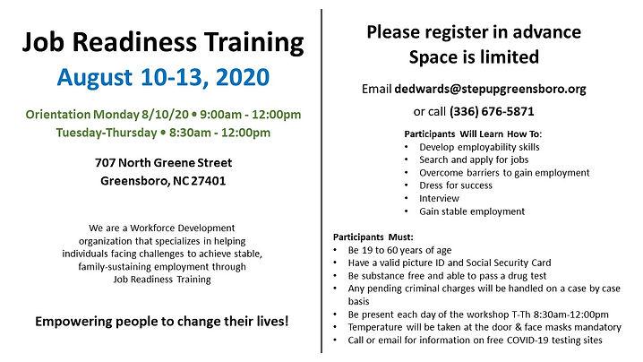 StepUp Greensboro Job Readiness Training