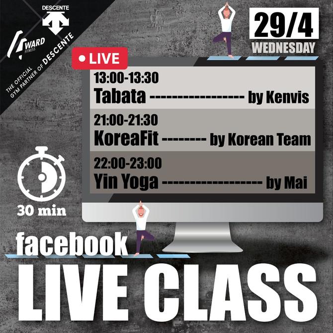 【Live class schedule 29-30/4🗓✨ #停gym不停練】