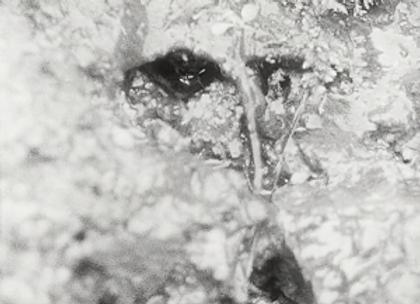 Image du film de georges rey la source de la loire. De l'eau coule des yeux d'un masque imaginaire.