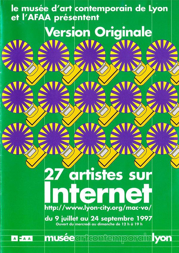 première page du dépliant annonçant l'exposition Version Originale au MAC de Lyon : 27 artistes sur Internet