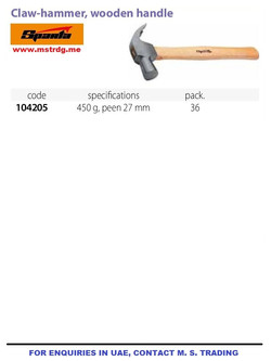 CLAW HAMMER WOODEN HANDLE