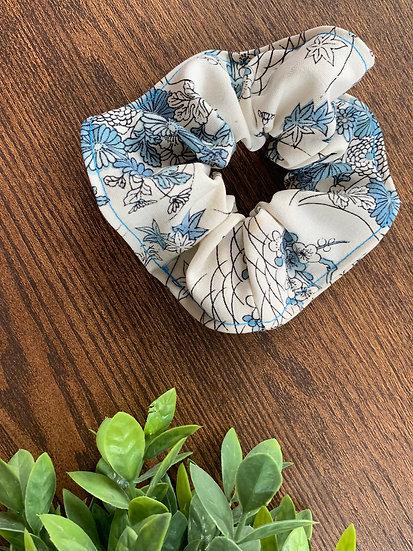 Light Blue Nature Kimono Scrunchie