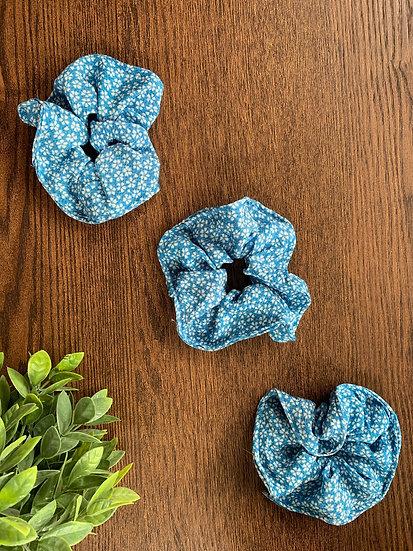 Blue Sakura Chirimen Scrunchie