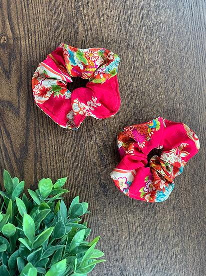 Bright Pink with Flowers Kimono Scrunchie