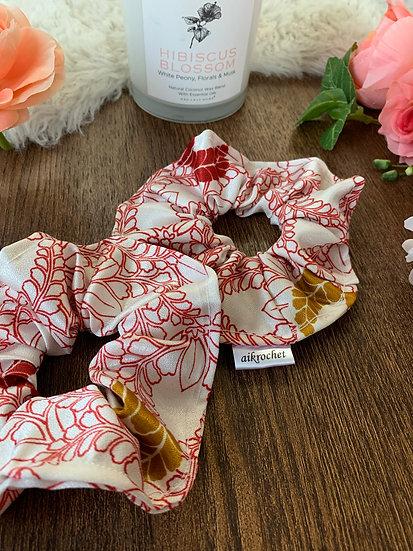 Red & Gold Wisteria Kimono Scrunchie