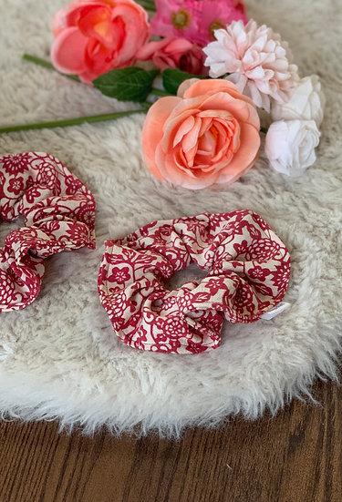 Raspberry and Cream Floral Kimono Scrunchie
