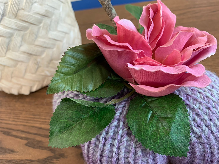 Pink & Purple Knitted Pumpkin