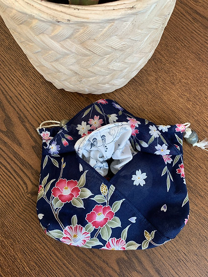 Blue with Flowers Drawstring Bag