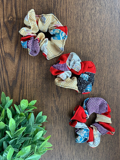 Patchwork Red Kimono Scrunchie