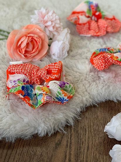 Orange and Gold Floral Kimono Scrunchie