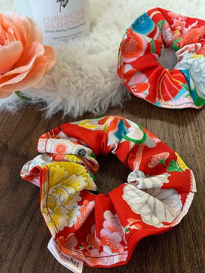 Silver & Red Floral Kimono Scrunchie