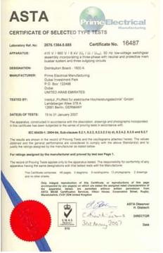 Panel Rating: 1600A Cert No. 16487