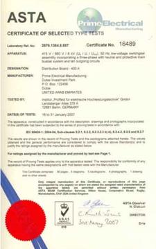 Panel Rating: 400A Cert No. 16489