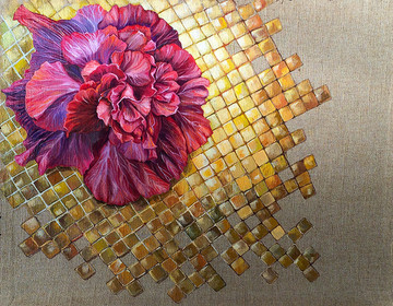 """Hubuscus on gold tiles"""