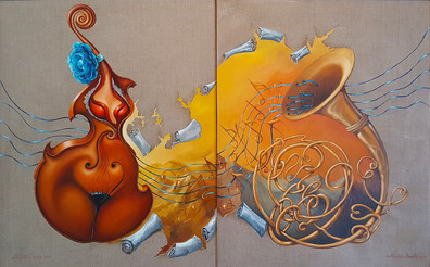 """""""Cello and French Horn"""". Diptych"""