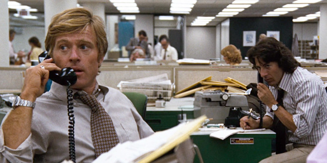 """Robert Redford and Dustin Hoffman in """"All the President's Men"""" (1976)"""