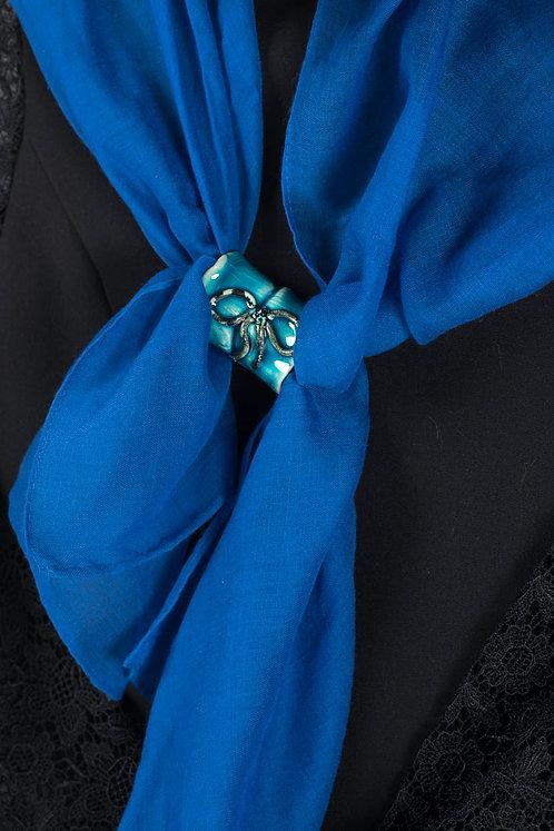 Broche d'écharpe turquoise
