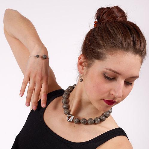 Bracelet 2 perles effet dentelle