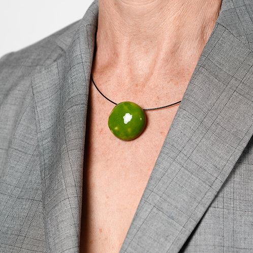 Tour de cou perle plate vert