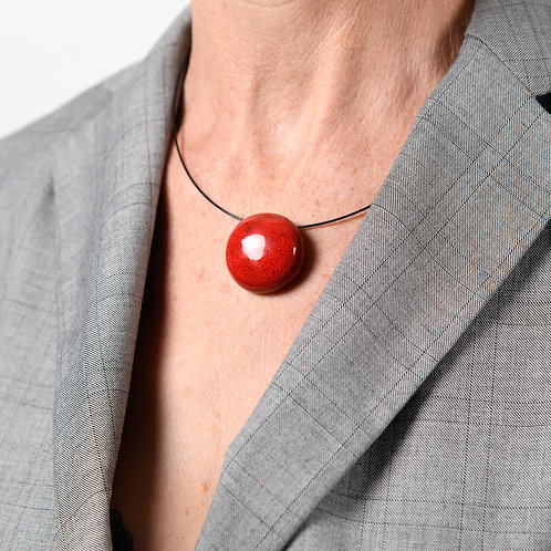 Tour de cou perle plate rouge