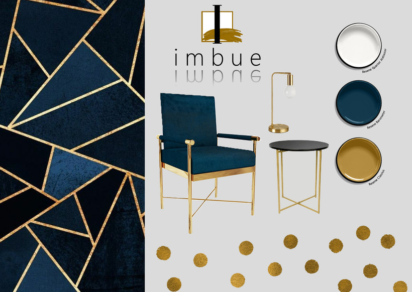 Blue Gold Simple Mood Board