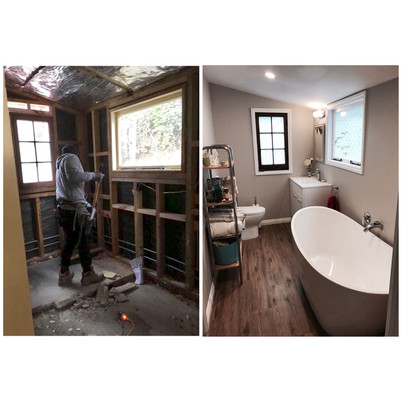 Before and after bathroom.
