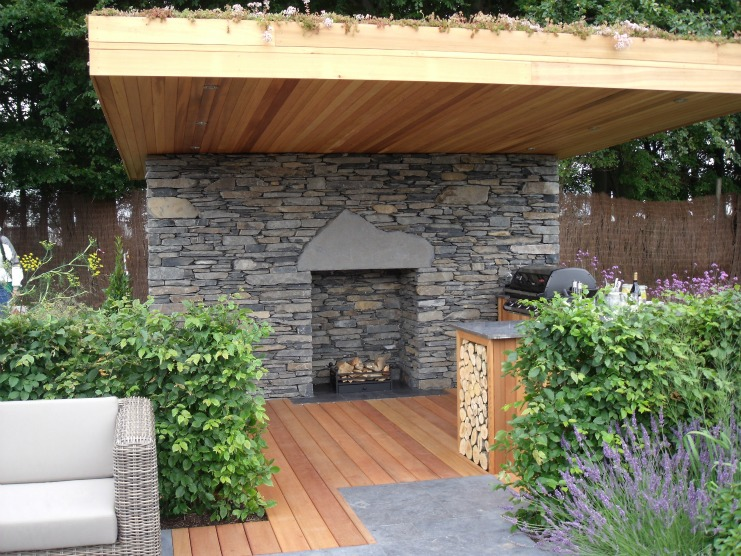 Outdoor Fireplace as part of outdoor kitchen for Tatt