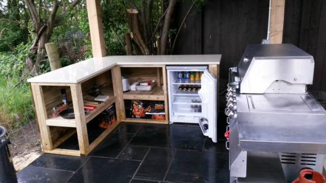 Simple outdoor kitchen - complete with covered roof