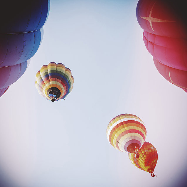 Photos of hot air balloons in the sky. Click to read post on the voices in your head.