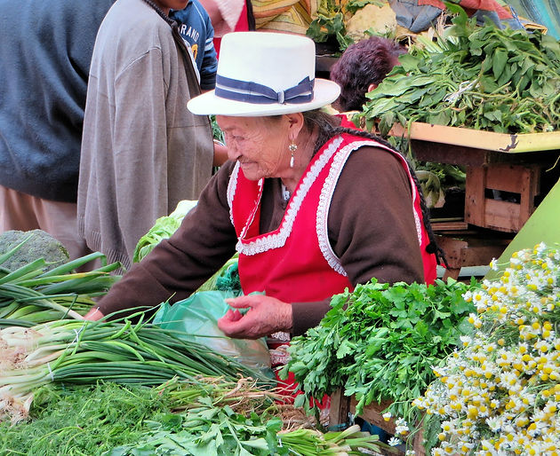 Adorable older woman selling veggies on a street in Ecuador. SNAP DEAL. Deaf World Travel