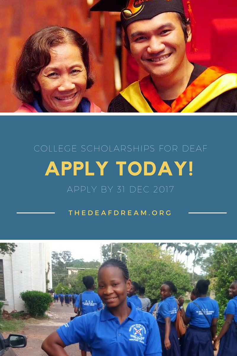 The Deaf Dream. College scholarships for the first Deaf college students in developing nations.