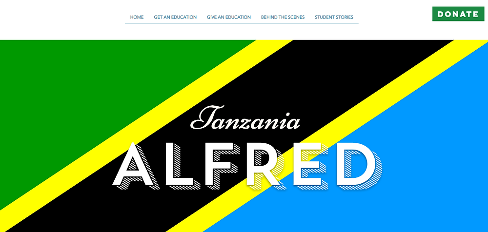 Alfred's name in front of the Tanzanian flag. The Deaf Dream.
