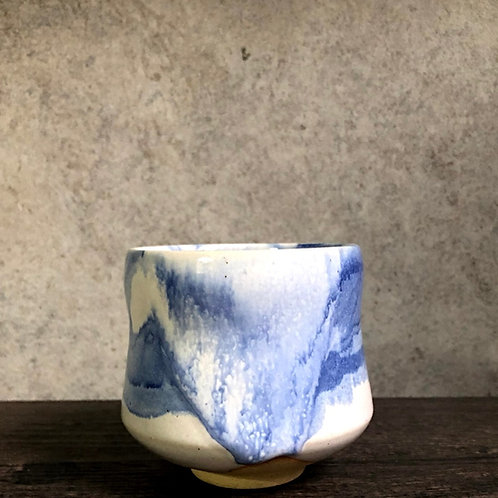 Water colour white glaze tea cup