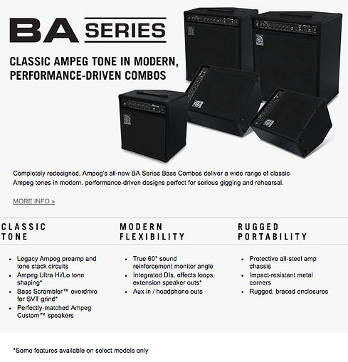 Ampeg BA Series Dealer Canada