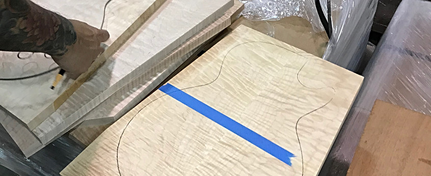 Handpicking AAA Quilt Tops For Custom Builds Call To Order Your Dream Guitar 604 682 4422