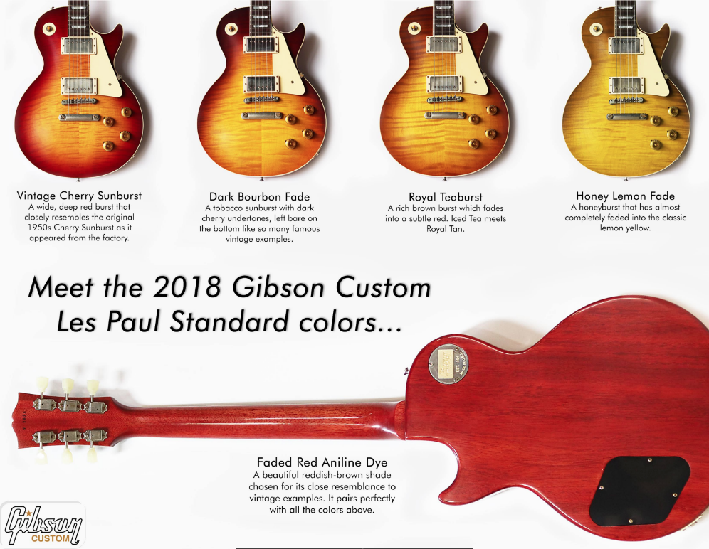 2018 Gibson Custom Les Paul Standard Colors