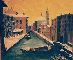 Jozsef Burge  Venice Canal Winter