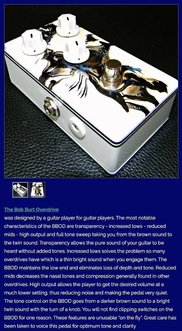 Sample of Bob Burt Overdrive . All Pedals Are Unique and Hand Signed 604 6824422