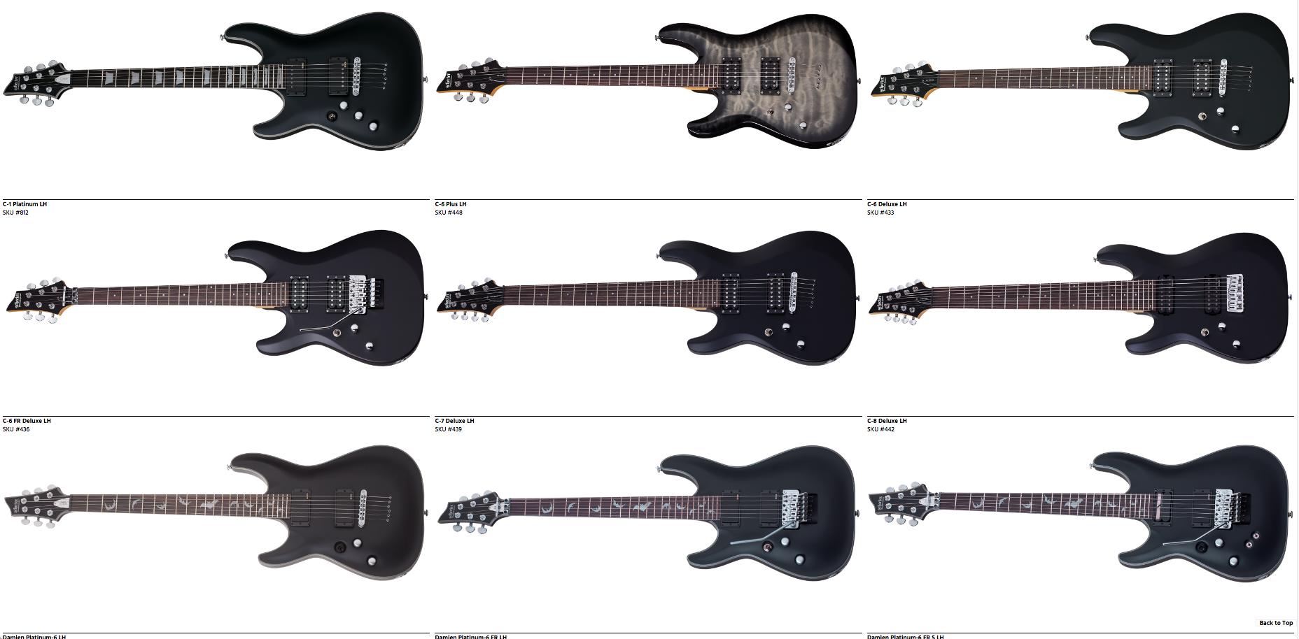 Lefty Schecter Guitars Dealer Canada